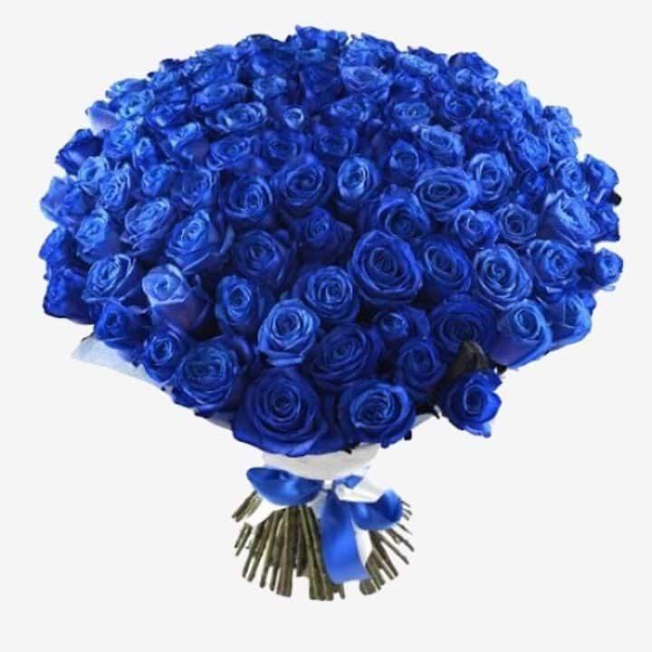 Открытка с синими розами 75