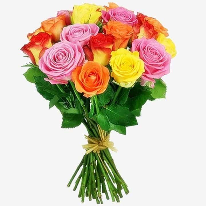 Букет Игра красок из длинных разноцветных роз