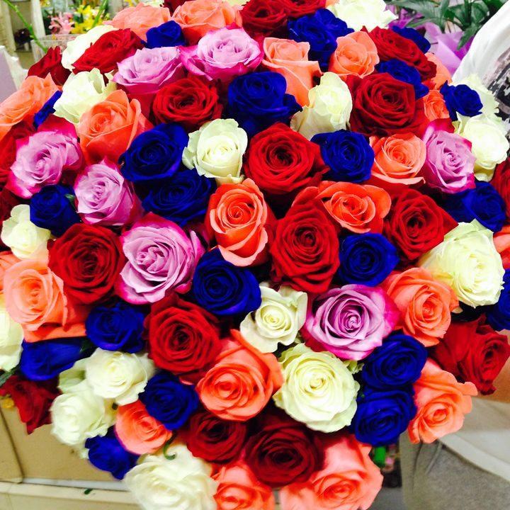 Роскошь 51 длинная разноцветная роза 101 длинная разноцветная роза