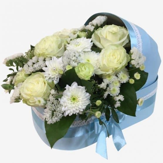 Коляска с цветами голубая