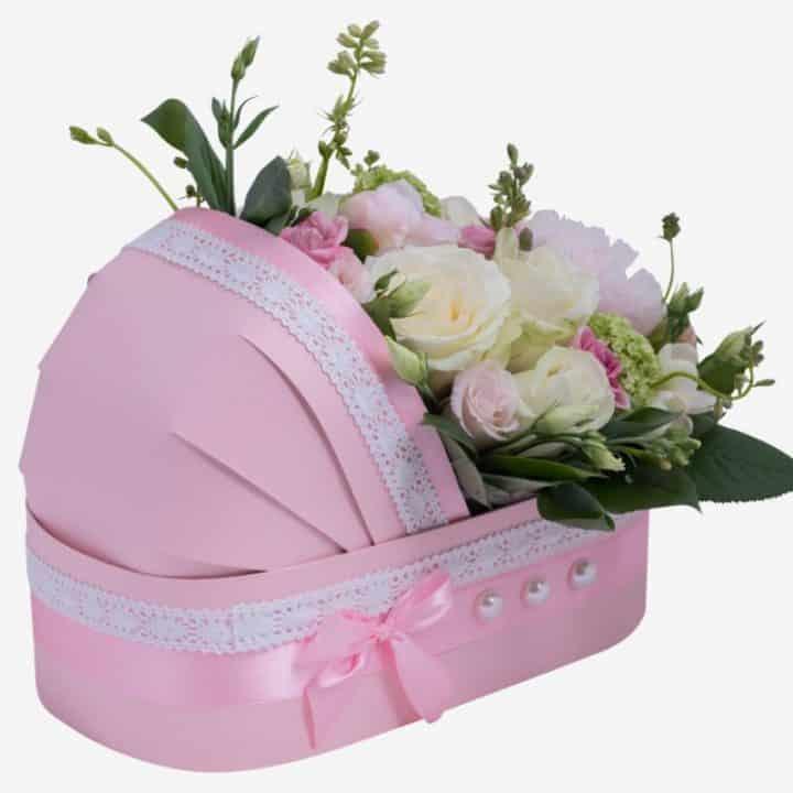 Коляска с цветами розовая